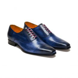 A custom made leather oxford shoe, blue patina with pink laces and blue stitching. (Side 2 View)