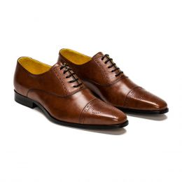 A custom made half brogue leather oxford shoe, brown with black laces and brown stitching. (Side 2 View)