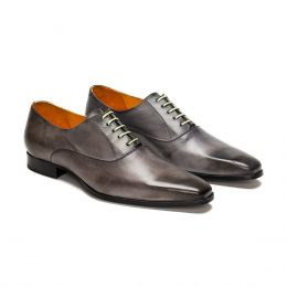 A custom made leather oxford shoe, grey patina with green laces and grey stitching. (Side 2 View)
