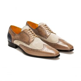 A Custom made brogue leather and suede derby shoe, brown and sand with beige laces and beige stitching. (Side 2 View)