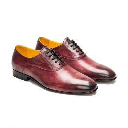 A Custom made leather Oxford Shoe, Bordeux Patina with black laces and black stitching. (Side 2 View)