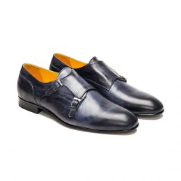A Custom made Leather Monk Strap Shoe, Blue Patina with blue stitching. (Side 2 View)
