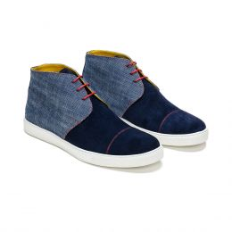 A custo made suede and canvas chukka boot sneaker, blue with red laces and red stitching. (Side 2 View)