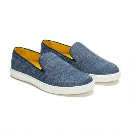 A custom made canvas loafer shoe, blue with blue stitching. (Side 2 View)