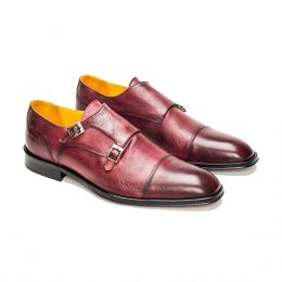 A custom made cap toe leather monk strap shoe, Bordeaux with bordeaux stitching. (Side 2 View)