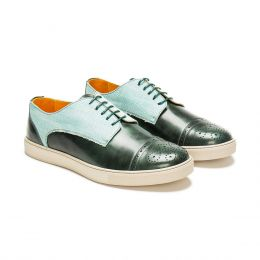 A custom made half brogue leather derby sneaker, green with green laces and green stitching. (Side 2 View)